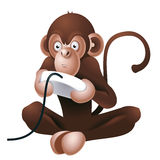 Monkey playing computer game. Illustration of funny monkey playing with control for computer or console game, isolated on white background Royalty Free Stock Photo