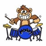 Monkey playing drums cartoon royalty free illustration