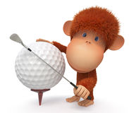 The monkey plays golf Royalty Free Stock Image
