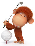 The monkey plays golf Royalty Free Stock Photos