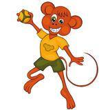 Monkey plays handball. Cartoon style. Clip art for children. Royalty Free Stock Images