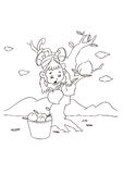 Monkey pluck peach. A little monkey is hanging on the tree. He is picking a peach. There is a bucket full of peaches under the peach tree Royalty Free Stock Photography