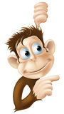 Monkey pointing and looking illustration Royalty Free Stock Photos