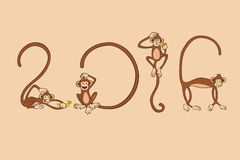 Monkey pose in figure of 2016 for New Year. Zodiac symbol of 4 monkeys pose in figure of 2016 vector illustration