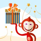 Monkey with a present, color picture. Laughing, the red monkey holds in his hand a box with a Christmas gift. Color flat vector illustration vector illustration