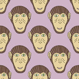 Monkey print. Chimpanzee seamless pattern. Vector background for textile, wallpaper, print, new year wrapping paper. Monkey print. Chimpanzee seamless pattern vector illustration