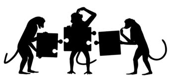 Monkey puzzle silhouette. Editable vector silhouette of three monkeys struggling to put together a simple jigsaw puzzle with all elements as separate objects stock illustration
