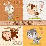 Monkey, Rabbit, Wolf And Cow, Set Cartoon Images Royalty Free Stock Photo