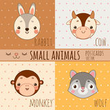 Monkey, rabbit, wolf and cow, set of animals faces Stock Photos