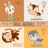 Monkey, rabbit, wolf and cow, set cartoon images Royalty Free Stock Photo