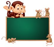 Monkey and rat blackboard banner Vector Illustration