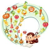 Monkey reading book of fruits and veggies Royalty Free Stock Image