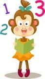 Monkey reading a book Stock Photo