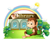 A monkey reading a book outside the library vector illustration