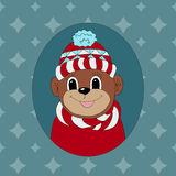 Monkey in a red cap and scarf. Royalty Free Stock Images
