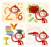 Monkey, red, wishes for the New year, pictures. Symbols with red monkey and new year wishes. Colored, vector illustration Stock Images