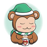 Monkey relaxing with hot beverage Royalty Free Stock Photography