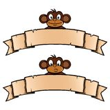 Monkey with ribbon banner. Smiling and confused monkey with ribbon banner Royalty Free Stock Image