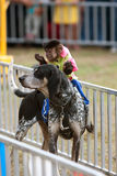 Monkey Rides Dog At State Fair Stock Images
