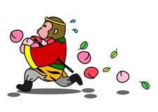 Monkey running away with stolen peaches Stock Photos