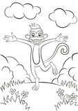Monkey running and hugging. Royalty Free Stock Photography