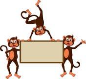Monkey's cartoon with blank board Royalty Free Stock Photos