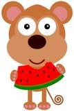 Monkey's watermelon stock illustration