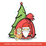 Monkey with Santa Claus, fir-tree, bag in doodle style. Monkey with Santa Claus, a fir-tree and a bag with gifts in doodle style. Festive card. design of stock illustration