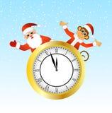 Monkey Santa Claus peeking out of the clock Stock Image