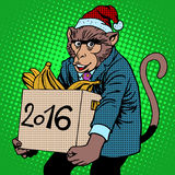 Monkey Santa Claus symbol new year 2016. Character pet monkey, carries a box of bananas gifts pop art retro style Stock Images
