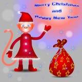 Monkey Santa congratulates with Merry Christmas and Happy New Ye Stock Photo