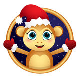 Monkey Santa in a frame. Monkey Santa in the night sky in a Golden frame Royalty Free Stock Images