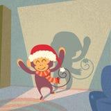 Monkey Santa Hat Happy New Year Merry Christmas. Shadow Silhouette Open Door Retro Shape Flat Vector Illustration vector illustration