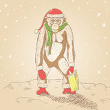 Monkey In Santa Hat, Mittens And Scarf With Bag. Vector Stock Photos