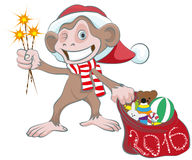 Monkey in Santa hats holding sparkler and bag of gifts. Isolated illustration in vector format Royalty Free Stock Photo
