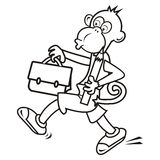 Monkey and schoolbag,coloring Royalty Free Stock Images