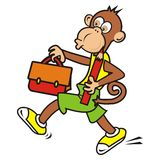Monkey and schoolbag Stock Photo