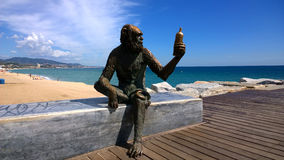 Monkey Sculpture in Badalona, Spain Royalty Free Stock Images