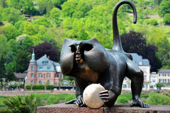 Monkey sculpture beside the old bridge in Heidelberg Stock Photo