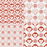 Monkey seamless patterns. Set of seamless patterns with funny flat cartoon red monkey heads and snowflakes. Vector illustration royalty free illustration