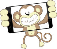Monkey selfie. Funny monkey cartoon photographing herself with smartphone isolated on white background Royalty Free Stock Photo