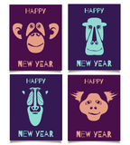 Monkey set happy new year. Vector template set with monkey smiling faces. Happy New Year patterns for placards, brochures, posters, greeting cards, flyers royalty free illustration