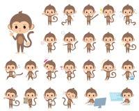 Monkey. Set of various poses of Children's monkey Royalty Free Stock Photos