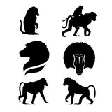 Monkey set vector. Monkey set of silhouettes vector vector illustration