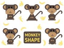 Monkey sharp vector set and banana design Stock Image