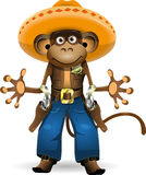 Monkey sheriff. Illustration of a monkey in a suit sheriff Stock Photography