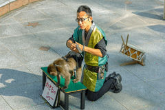 Monkey Show at Kitano District in Kobe Royalty Free Stock Images