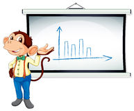 A monkey showing graph Royalty Free Stock Photo