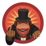 Monkey shows finger. The monkey smiles and shows his finger to anyone who wants to hurt her and insult her to have a good laugh stock illustration