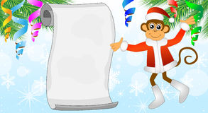 Monkey shows on a sheet of paper Royalty Free Stock Images